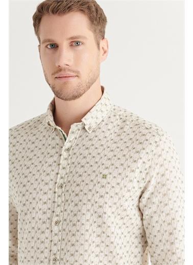 Avva Erkek Baskılı Düğmeli Yaka Comfort Fit Keten Gömlek A11Y2042 Bej